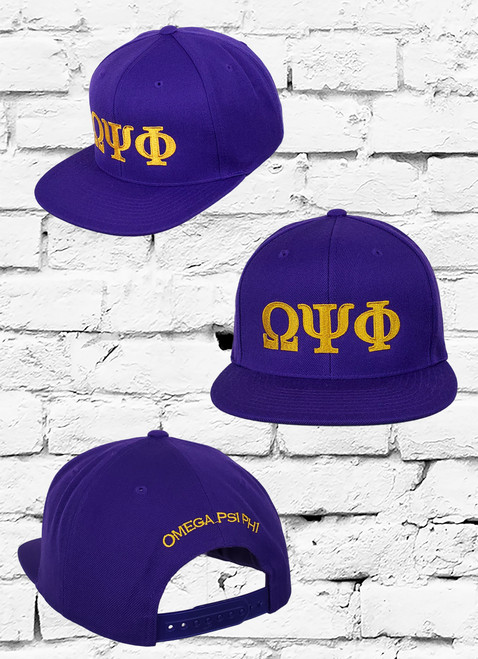 Purple Omega Psi Phi snapback with antique gold embroidered greek symbols on the front crown.