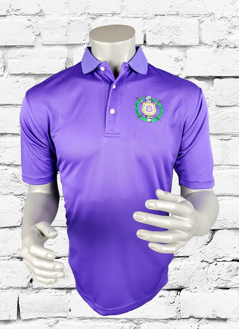 The Omega Psi Phi Performance Polo has a classic look and a soft feel. The polyester fabric with sweat-wicking technology helps you stay dry when your round heats up.
