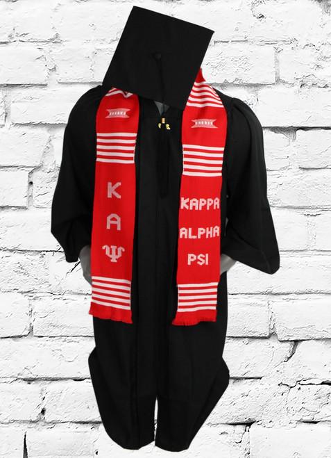 Kappa Alpha Psi red graduation kente stole. Hand woven in Ghana.