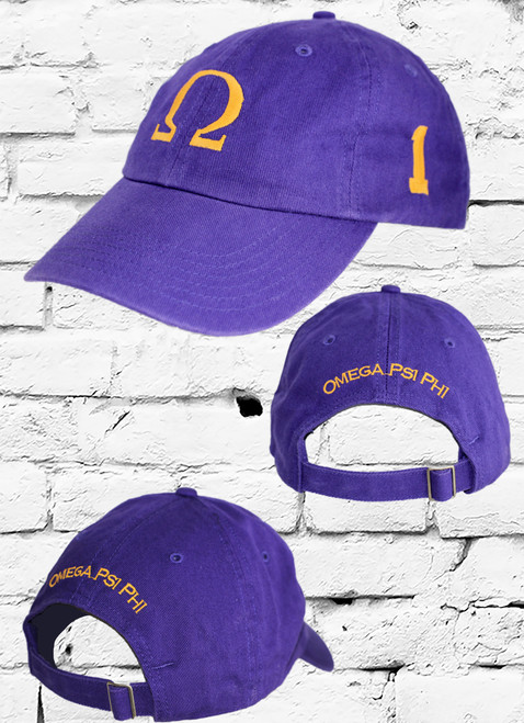 Omega Psi Phi vintage purple dad cap with line number on the left side. All embroidery is done in old gold.