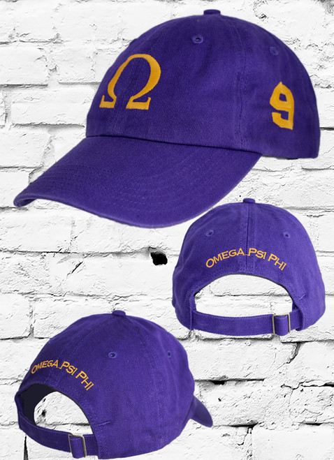 "Omega Psi Phi #9 vintage cap is a classic purple dad cap. Embroidered old gold front Omega ""Ω"", left side embroidered line number and rear Omega Psi Phi lettering."