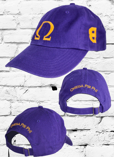 """Omega Psi Phi #8 vintage cap is a classic purple dad cap. Embroidered old gold front Omega """"Ω"""", left side embroidered line number and rear Omega Psi Phi lettering."""
