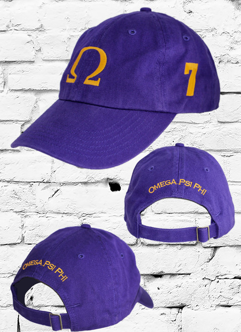 "Omega Psi Phi #7 vintage cap is a classic purple dad cap. Embroidered old gold front Omega ""Ω"", left side embroidered line number and rear Omega Psi Phi lettering."