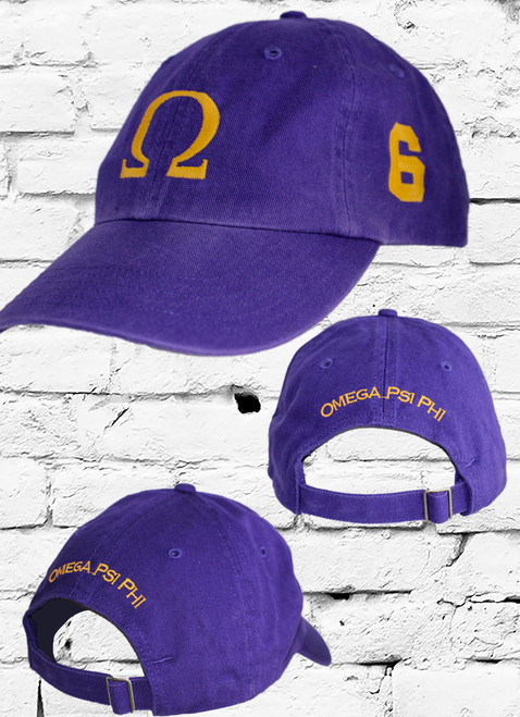 "Omega Psi Phi #6 vintage cap is a classic purple dad cap. Embroidered old gold front Omega ""Ω"", left side embroidered line number and rear Omega Psi Phi lettering."