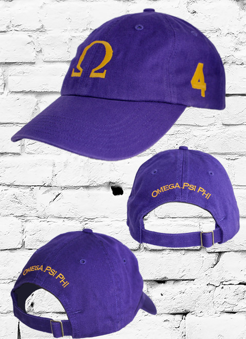 """Omega Psi Phi #4 vintage cap is a classic purple dad cap. Embroidered old gold front Omega """"Ω"""", left side embroidered line number and rear Omega Psi Phi lettering."""