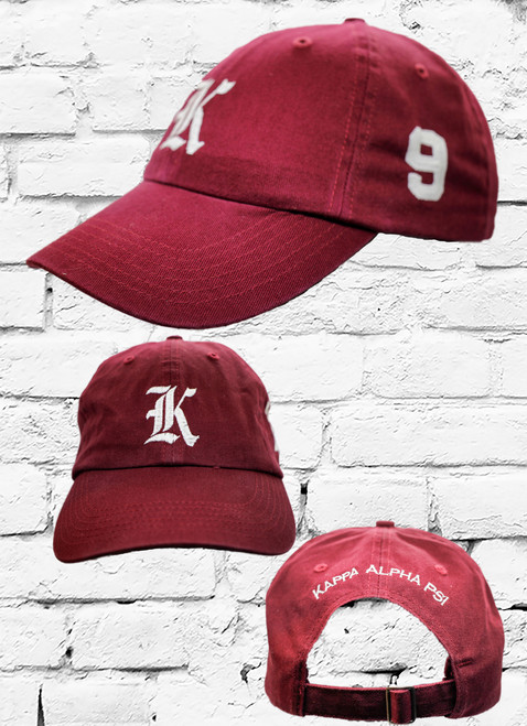 "Kappa Alpha Psi #9 vintage cap is a classic crimson dad cap. Embroidered white front Kappa ""K"", left side embroidered line number and rear Kappa Alpha Psi lettering."