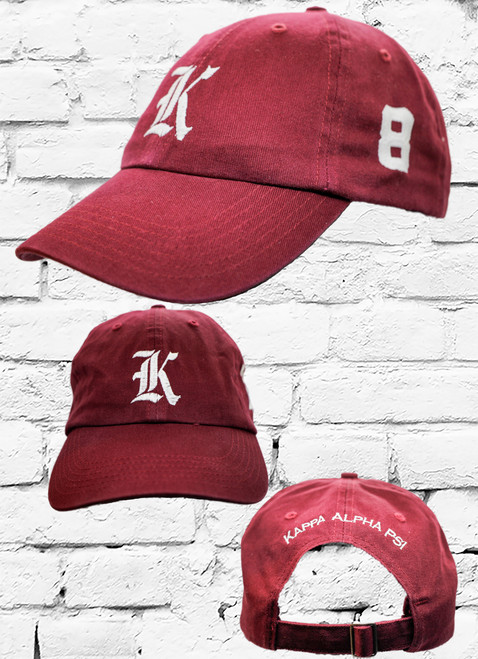 "Kappa Alpha Psi #8 vintage cap is a classic crimson dad cap. Embroidered white front Kappa ""K"", left side embroidered line number and rear Kappa Alpha Psi lettering."