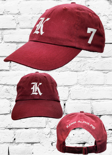"Kappa Alpha Psi #7 vintage cap is a classic crimson dad cap. Embroidered white front Kappa ""K"", left side embroidered line number and rear Kappa Alpha Psi lettering."