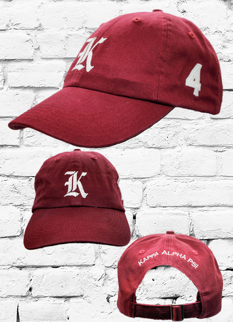 "Kappa Alpha Psi #4 vintage cap is a classic crimson dad cap. Embroidered white front Kappa ""K"", left side embroidered line number and rear Kappa Alpha Psi lettering."