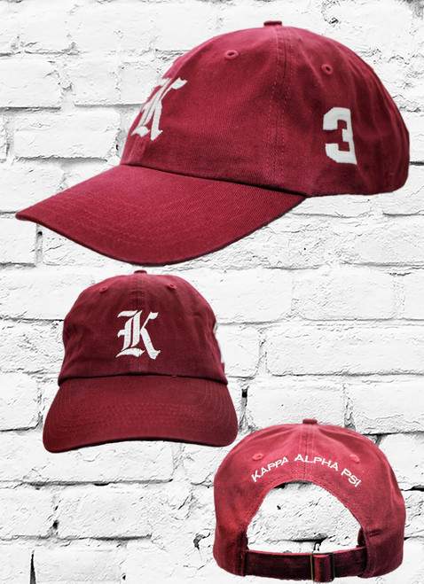 "Kappa Alpha Psi #3 vintage cap is a classic crimson dad cap. Embroidered white front Kappa ""K"", left side embroidered line number and rear Kappa Alpha Psi lettering."