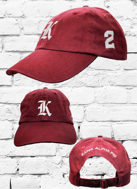"Kappa Alpha Psi #2 vintage cap is a classic crimson dad cap. Embroidered white front Kappa ""K"", left side embroidered line number and rear Kappa Alpha Psi lettering."