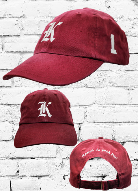"Kappa Alpha Psi #1 vintage cap is a classic crimson dad cap. Embroidered white front Kappa ""K"", left side embroidered line number and rear Kappa Alpha Psi lettering."