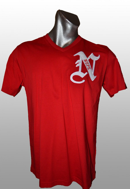"Red Nupe v-neck t-shirt in a roomy silhouette. This shirt has a ""N"" embroidered twill design on the left chest area."