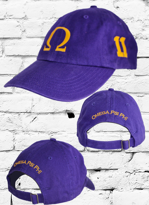 "Omega Psi Phi #11 vintage cap is a classic purple dad cap. Embroidered old gold front Omega ""Ω"", left side embroidered line number and rear Omega Psi Phi lettering."