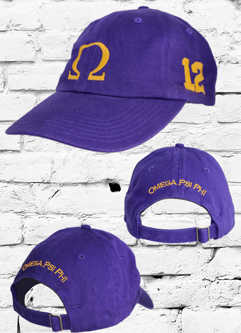 """Omega Psi Phi #12 vintage cap is a classic purple dad cap. Embroidered old gold front Omega """"Ω"""", left side embroidered line number and rear Omega Psi Phi lettering."""