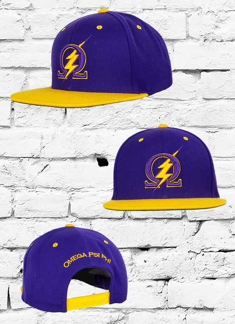 In celebration of excellence this Omega Psi Phi Thunder Bolt snapback honors the old school in a modern design. The Omega Psi Phi Snapback features an 3D embroidered Omega symbol and Thunder Bolt at the front panels and Omega Psi Phi at the rear above a snapback closure. Additional details include contrasting fraternity color stitching.