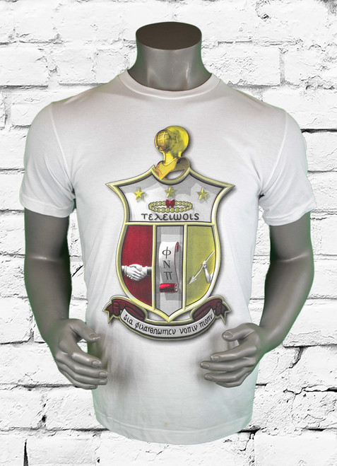 ΚΑΨ coat of arms shirt is a white short sleeve t-shirt with a 3 dimensional Kappa Alpha Psi shield placed on the center chest area. The oversized print allows for great detail.