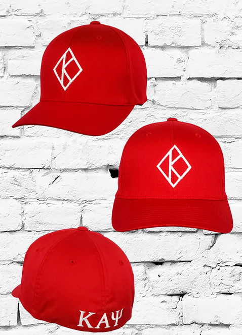 This Kappa Alpha Psi Diamond K Fitted Cap features an embroidered Floating K logo on the front, stitched  ΚΑΨ® greek symbols on the rear. Interior includes branded taping and a moisture absorbing sweatband.