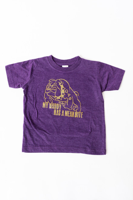 "The ""My Daddy Has A Mean Bite"" t-shirt is a purple 100% cotton tee design for the child of A member of  Omega Psi Phi Fraternity Inc."