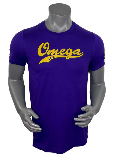 Omega Psi Phi cotton T-shirt features a Classic Swoosh logo and our signature embroidered left sleeve with Omega Lightening bolt.