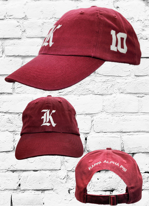 "Kappa Alpha Psi #10 vintage cap is a classic crimson dad cap. Embroidered white front Kappa ""K"", left side embroidered line number and rear Kappa Alpha Psi lettering."