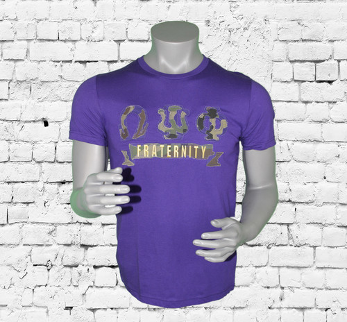 Comfortable 100% cotton short-sleeve tee featuring camouflage appliqué ΩΨΦ lettering. Clean hem. Imported.