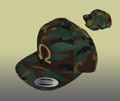 The Omega Psi Phi Camo Snapback features a Camouflage  pattern throughout the cap with an embroidered Ω logo at the front and Omega Psi Phi at the rear.