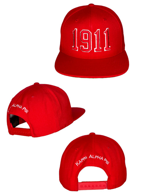 The 1911 ΚΑΨ  Snapback features an embroidered 3D puff 1911 logo at the front panels with Kappa Alpha Psi above the snapback closure at the rear.
