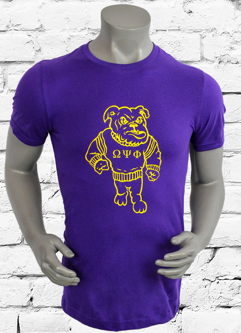 Omega Psi Phi dawg tee is a purple 100% cotton ring spun short sleeve tee with an old gold screen printed dog design on center chest.