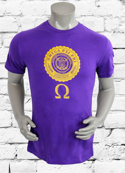 The Omega Crest Men's T-Shirt pays tribute to the great Omega Psi Phi Fraternity Inc. with a classic styled print on soft cotton for a stylish look and a comfortable fit on a purple tee.
