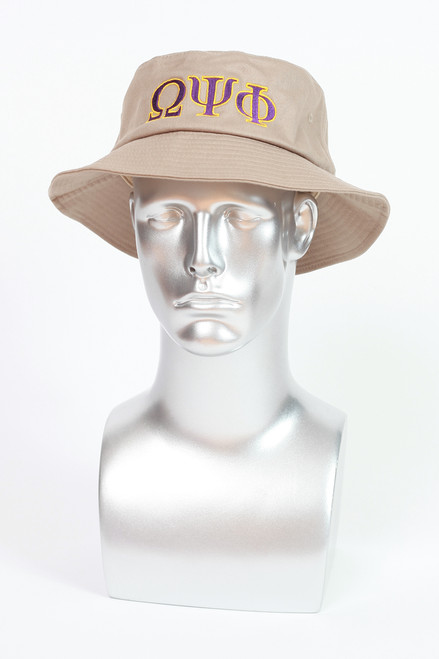 "Khaki bucket hat with purple and gold embroidered ""ΩΨΦ"" greek symbols."