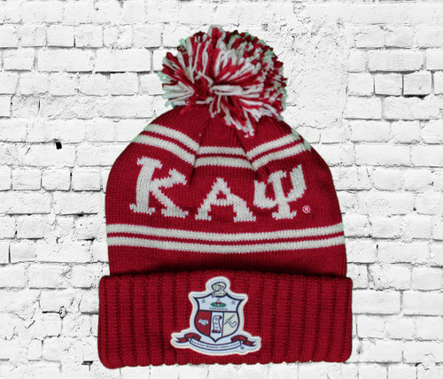 Kappa Alpha Psi crimson and cream winter beanie with pom is perfect for the winter season. The Coat of Arms is on the front cuff, ΚΑΨ, and 1911 are on the crown.