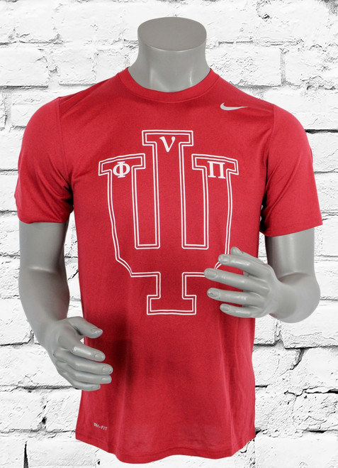 IU Kappa Alpha Psi Athletic T-Shirt is a crimson Nike Dri-Fit shirt with white Psi  symbol bearing the greek Phi Nu Pi symbols.