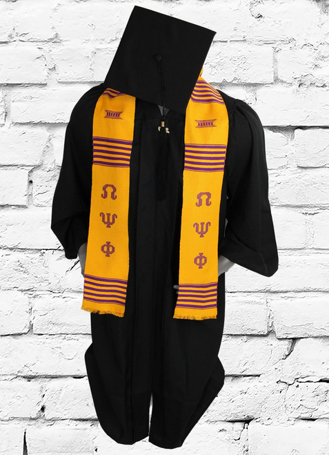 Omega Psi Phi gold graduation kente stole with purple hand woven details.
