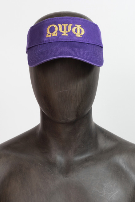 This Omega Psi Phi classic cotton visor is accented with embroidered ΩΨΦ greek symbols on front panel and the Nike signature Swoosh on side.