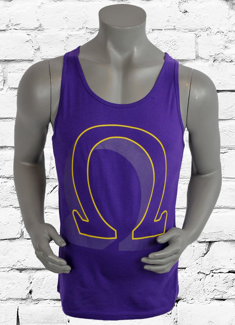The Omega 3D men's tank top pays tribute to the great Omega Psi Phi Fraternity Inc with a classic styled print on soft cotton for a stylish look and a comfortable fit. Purple cotton tank top.