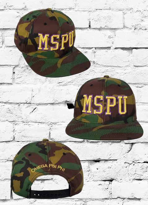 "The Omega Psi Phi Snapback Cap features a camouflage fabrication with a metallic gold ""MSPU"" lettering embroidered at the front panels and ""Omega Psi Phi"" on the rear."