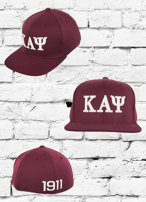 The Kappa Alpha Psi Flex Fitted Hat features an 3D embroidered ΚΑΨ logo at the front panels with an embroidered 1911 logo at the rear.