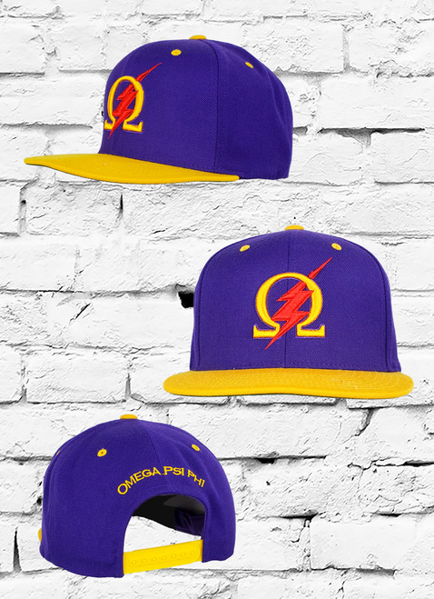 "The Omega Psi Phi Thunder Snapback features a premium purple suiting fabric with an Omega symbol and red lightening bolt embroidered at the front panels using a 3D puff stitching technique, and ""Omega Psi Phi"" script above snapback closure at the rear."