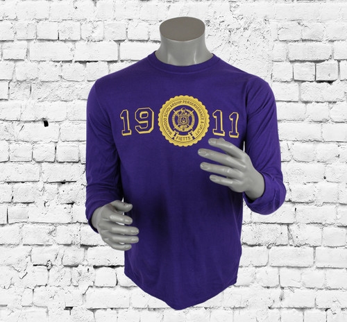 Classic long-sleeve tee with a heritage-inspired Omega Psi Phi logo graphic shirt. Crew neckline and straight hem. Imported
