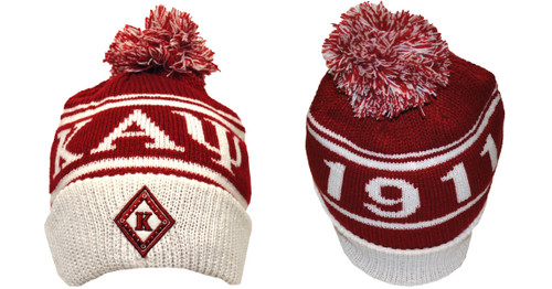 You don't have to be cold this season, enjoy wearing this Kappa Alpha Psi Knit. The warm knit features the diamond K on the front cuff and the ΚΑΨ 1911 across the top of the hat. Everything is set off the clever use of fraternity  colors and topped by a traditional beanie pom.