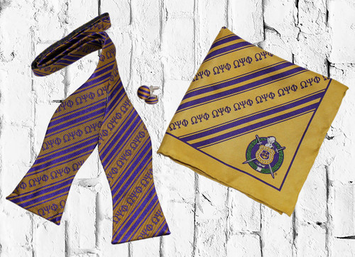 ΩΨΦ Bow Tie set is a sophisticated staple perfect for any dress occasion. Purple and Gold bow tie, cuff links, and pocket square.