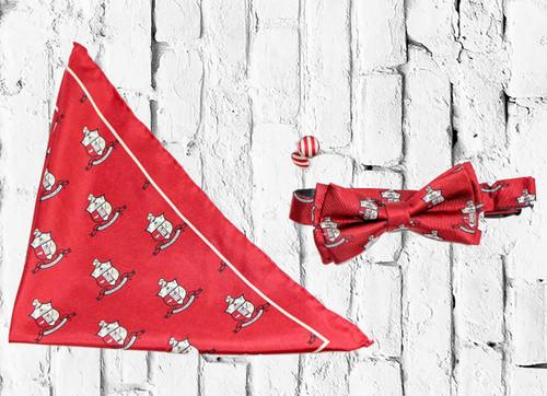 ΚΑΨ Bow Tie set is a sophisticated staple, perfect for any dress occasion. Crimson and Cream bow tie, cuff links, and pocket square.