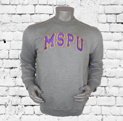 """The Omega Psi Phi Sportswear MSPU Men's Sweatshirt is made for all-day comfort thanks to the relaxed feel. """"MSPU"""" patches are sewn onto the chest design. The left shoulder embroidered Omega Thunder design."""