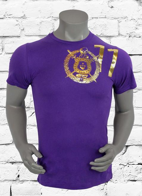 """ΩΨΦ """"NO HEART NO CHANCE"""" performance  men's training t-shirt is made with sweat-wicking fabric to help keep you dry and comfortable during your workout. Purple shirt with athletic gold screen print."""