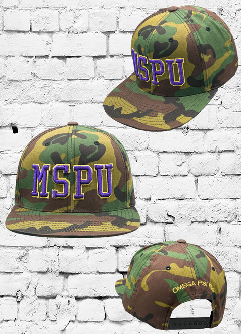 """The classic Camo snapback that's become an icon with a modern twist. The Omega Psi Phi Camo colored snapback cap features an embroidered """"MSPU"""" lettering at the front panels, and the words """"OMEGA PSI PHI"""" at the rear."""