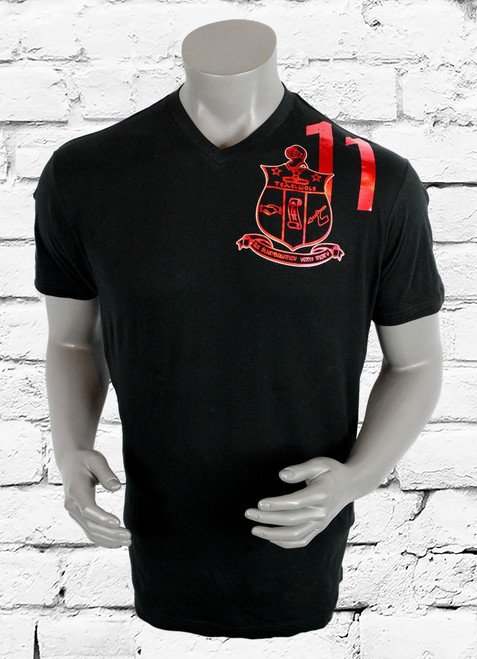 Kappa Alpha Psi black v-neck t-shirt with foil left chest and shoulder. The foil design is both red and white.