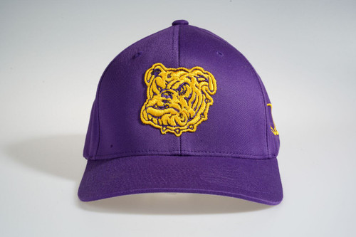 The ΩΨΦ Dawg  Fitted Cap features an allover purple fabrication with dog embroidered at the front panels and an embroidered Ω symbol on the side panels.