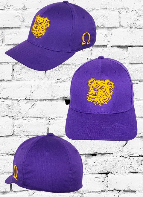 The ΩΨΦ® Dawg  Fitted® Cap features an embroidered Bull Dog logo at the front panels with a  Ω symbol on side panel.