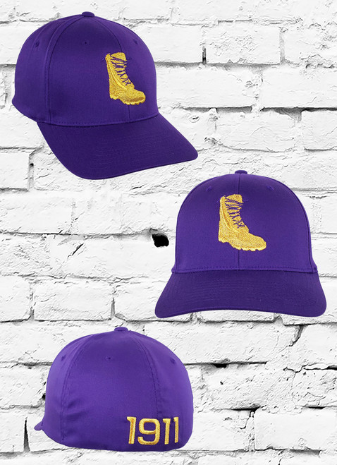 Switch things up with the ΩΨΦ Gold Boot Theme Flex Fitted Cap featuring a metallic gold Boot logo embroidered at the front panels and a matching  1911  on the rear.
